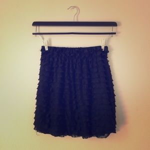 Black Frilly Tiered Skirt